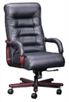 Executive Contemporary, Hi-Back, Mahogany Frame, Black Leather Chair