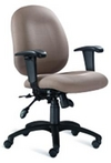 Ergonomic Beige Fabric Chair w/ Black Frame