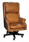 Executive Traditional, Hi-Back, Tan Leather Chair w/ Nailheads
