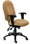 Ergonomic Chair with Cream Colored Fabric Seat & 2-Tone Fabric Back