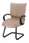 Guest Chair, Contemporary, Black Frame, Beige Leather