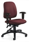 Ergonomic Burgundy Fabric Chair