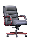 Executive Contemporary, Mid-Back, Mahogany Frame, Black Leather Chair