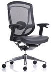 Ergonomic Black Mesh Chair w/Black Upholstered Seat & Lumbar Support