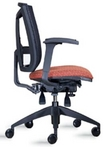 Ergonomic Black Mesh Chair w/ Harvest Fabric Upholstered Seat & Lumbar Support