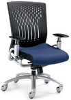 Contemporary Ergonomic Chair w/ Black, Vented Back; Blue Fabric Seat, & Tungsten Frame
