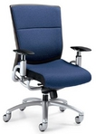 Ergonomic Blue Fabric Chair w/ Tungsten Frame