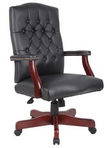 Executive Traditional, Hi-Back, Black Leather Chair w/ Nailheads