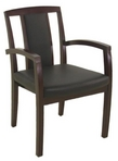 Guest Chair, Mahoney Frame, Black Leather