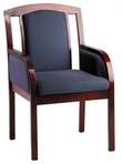 Guest Chair, Mahogany Frame, Blue Pattern Fabric