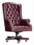 Executive Traditional, Wingedback, Hi-Back, Burgundy Leather Chair w/ Nailheads