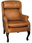 Guest Chair, Traditional, Tan Leather w/ Nailheads