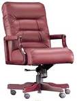 Executive Contemporary, Mid-Back, Mahogany Frame, Burgundy Leather Chair