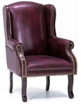 Guest Chair, Traditional, Wingedback, Burgundy Leather w/ Nailheads