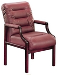 Guest Chair, Contemporary, Mahogany Frame, Burgundy Leather