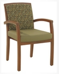 Guest Chair, Maple Frame, Sage/Green Pattern Fabric