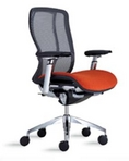 Ergonomic Black Mesh Chair w/ Red Upholstered Seat