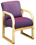 Guest Chair, Maple Frame, Multi-Hued Burgundy Pattern Fabric