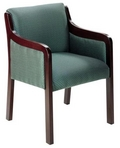 Guest Chair, Mahogany Frame, Green Pattern Fabric