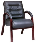 Guest Chair, Contemporary, Mahogany Frame, Black Leather