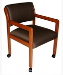 Guest Chair, Cherry Frame, Brown Pattern Fabric
