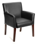 Guest Chair, Mahogany Frame, Black Leather