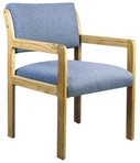 Guest Chair, Maple Frame, Lt Blue Pattern Fabric