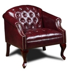 Traditional, Burgundy Leather Chair w/ Nailheads
