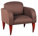 Mauve Fabric Chair w/ Mahogany Legs