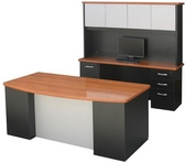 Black Laminate Milano Desk w/ Oiled Cherry Top, Brushed Silver Modesty Shield & Matching Hutch & Credenza