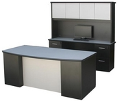 Black Laminate Milano Desk w/ Brushed Silver Modesty Shield & Matching Hutch & Credenza