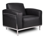 Black Leather Chair w/ Stainless Frame