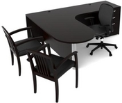 Black Finish L-Shape Bullet Desk w/ Matching Guest Chairs & Black Mesh Ergonomic Chair