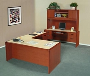 Tandum Yorkshire Cherry Base Desk w/ Hardrock Maple Top, Matching Hutch & Credenza