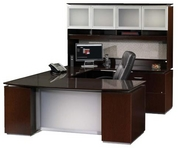 Sierra Desk, Matching Hutch & Credenza, and Executive Leather Chair