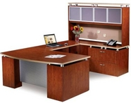 Mahogany Finish Desk with Aluminum Laminate Modesty Panel & Glass Doors