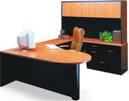 Black Desk with Bullet Pearwood Top and Matching Hutch & Credenza