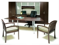 Table Desk, Matching Guest Chairs, Storage Cabinets, Credenza & Hutch w/ Glass Doors, and Executive Leather Chair