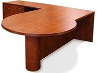 Cognac Finish P-Top L-Shape Desk