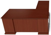Cherry Finish L-Shape Desk w/ Black Accent