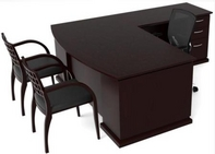 Dark Mahogany Finish L-Shape Desk w/ Matching Guest Chairs & Black Mesh Ergonomic Chair