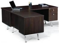 Black Forest Walnut Finish L-Shape Desk w/ Aluminum Legs