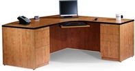 Butternut Finish L-Shape Desk w/ Black Edge & Keyboard Tray