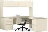 L-Shape Desk w/ Constellation Oatmeal Laminate Top & Bone Steel Chassis w/ Matching Storage Unit