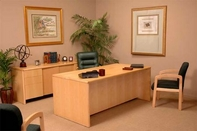 Aristo Desk, Credenza, Mid-Back Leather Chair, Fabric Guest Chairs
