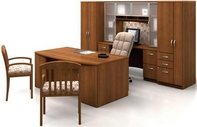 Oil Cherry Finish Desk w/ Matching Hutch, Credenza, Storage Cabinets, & Guest Chairs, & Hi-back Plush Executive Chair