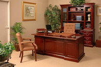 Harvard Desk w/Return, Matching Hutch & Credenza, High Back Executive Chair, Fabric Guest Chair