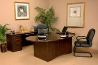 Contoured Desk , Matching Credenza, Leather Executive Chair & Leather Guest Chair