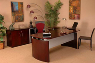 Napoli Desk w/ Matching Credenza, Ergonomic Multifunction Chair, & Guest Chair