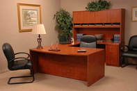 Contoured Desk w/ Return, Matching Hutch & Credenza, Mid-Back Executive Leather Chair & Leather Guest Chair